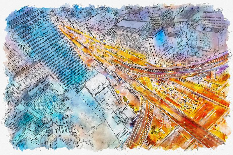 Flyg- sikt av en huvudväggenomskärning i Osaka, Japan stock illustrationer