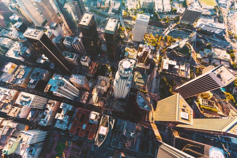 Flyg- sikt av en i stadens centrum LA arkivfoto