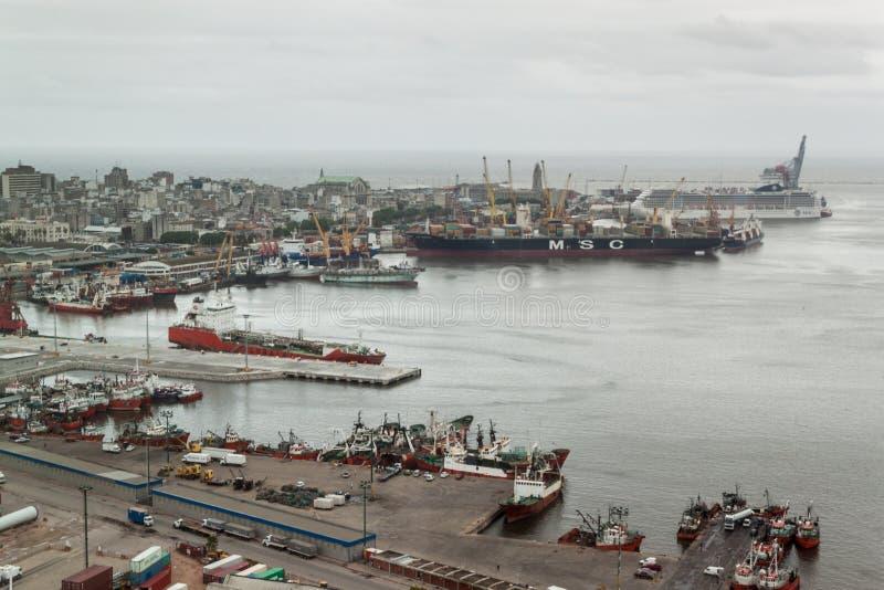 Flyg- sikt av en port i Montevideo fotografering för bildbyråer