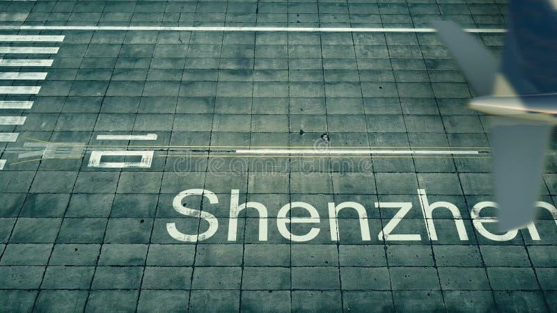 Flyg- sikt av ett flygplan som ankommer till den Shenzhen flygplatsen Lopp till den Kina 3D tolkningen vektor illustrationer