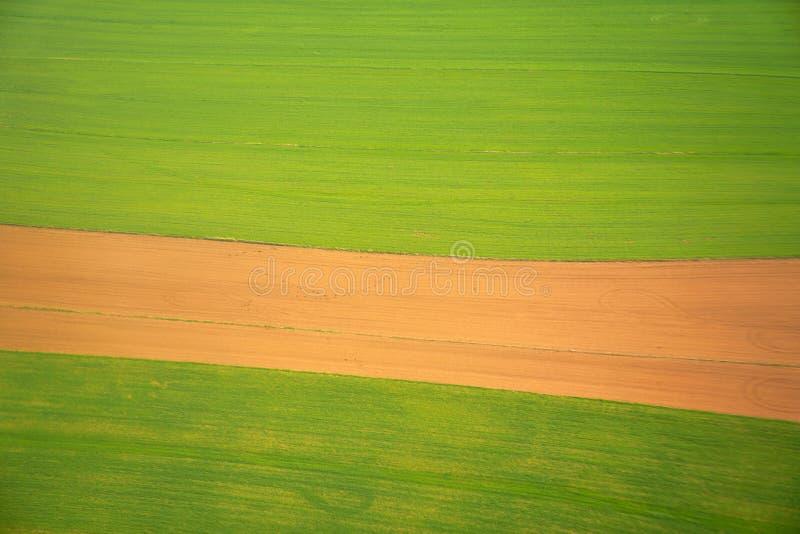 Flyg- sikt av fältjordbruksskiftet arkivfoton