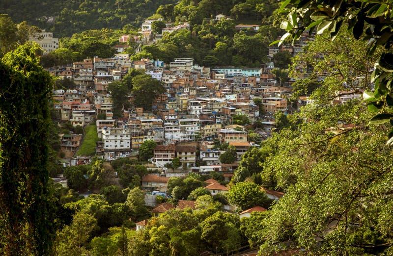 Flyg- sikt av Favela i Cosme Velho i Rio de Janeiro royaltyfri bild