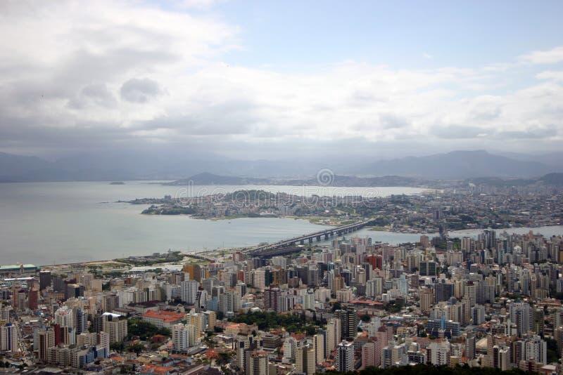 Flyg- sikt av Florianopolis-SC Brasilien arkivbilder