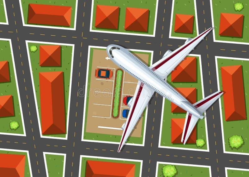 Flyg- sikt av flygplanet som flyger över grannskap royaltyfri illustrationer