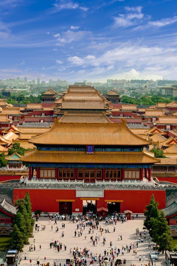 Flyg- sikt av Forbiddenet City Beijing arkivbild