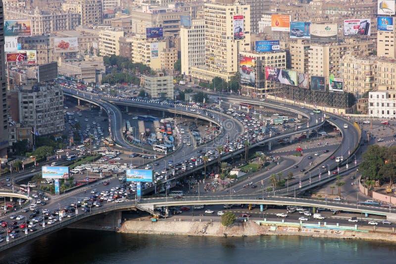 Flyg- sikt av fullsatta Egypten cairo
