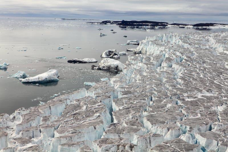 Flyg- sikt av glaciärer arkivbilder