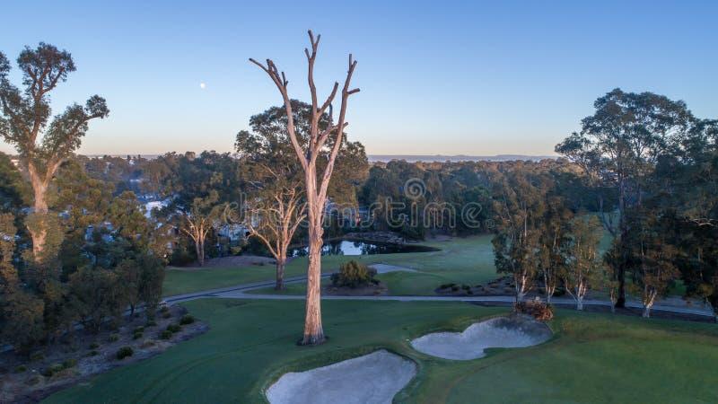Flyg- sikt av golfbanan inklusive bunker, fördämningar, farleder Sydney Australia arkivfoto