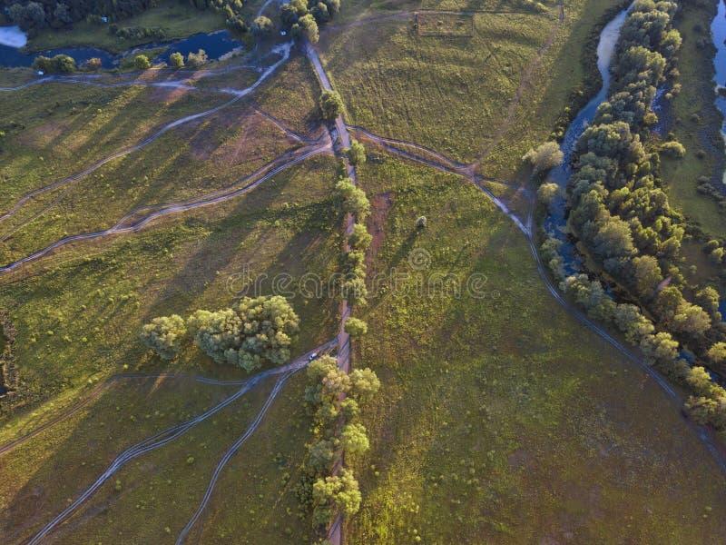 Flyg- sikt av grässlätten, träd och buskar med ett nätverk av smaen royaltyfri fotografi