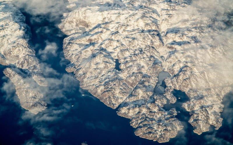 Flyg- sikt av Grönland arkivbild