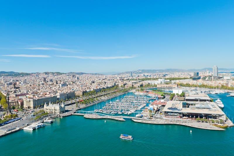 Flyg- sikt av hamnområdet i Barcelona royaltyfri foto