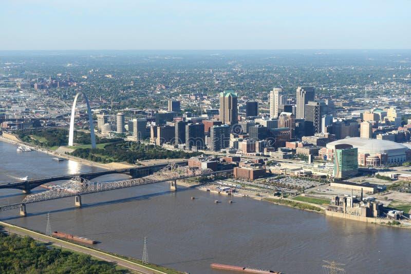 Flyg- sikt av helgonet Louis Missouri, USA royaltyfri fotografi