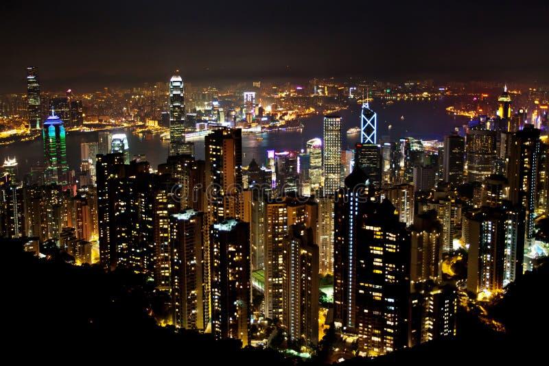 Flyg- sikt av Hong Kong arkivbild