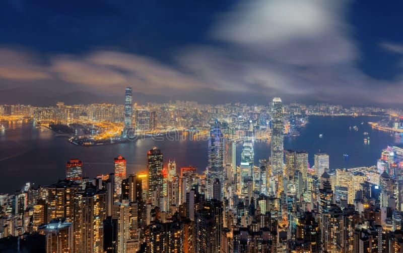 Flyg- sikt av Hong Kong Downtown och Victoria Harbour Financia arkivbild