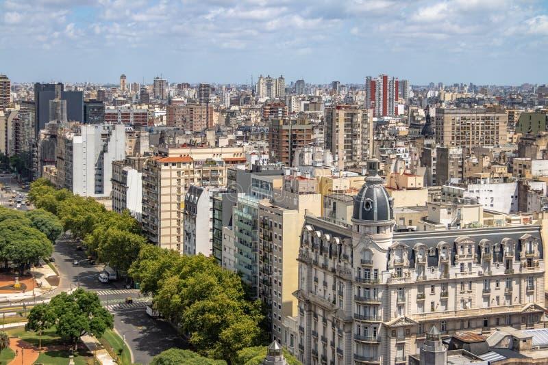 Flyg- sikt av i stadens centrum Buenos Aires - Buenos Aires, Argentina royaltyfri bild