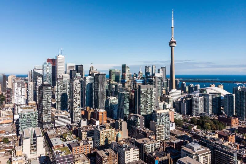 Flyg- sikt av i stadens centrum Toronto, Ontario, Kanada royaltyfria foton