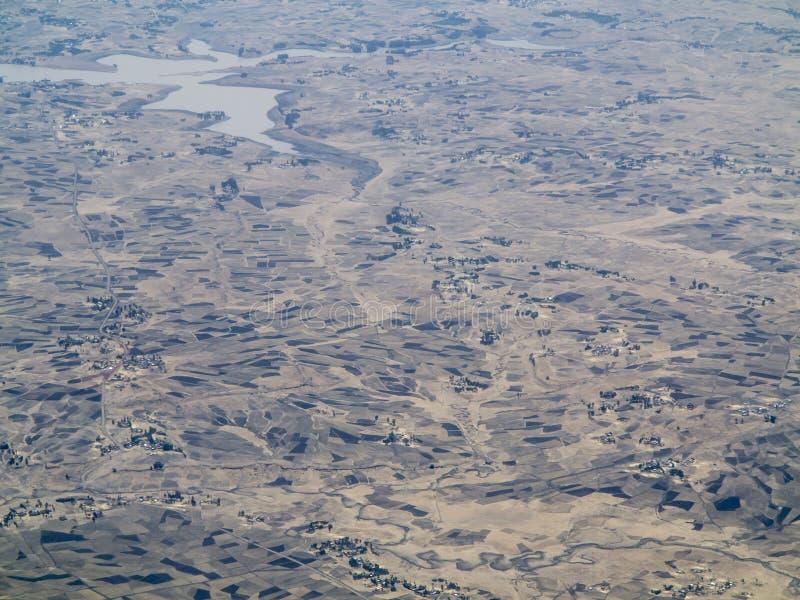 Flyg- sikt av jordbruksmark i Etiopien royaltyfria bilder
