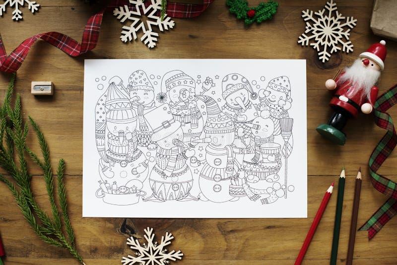 Flyg- sikt av jul som drar färgläggningboken royaltyfri fotografi
