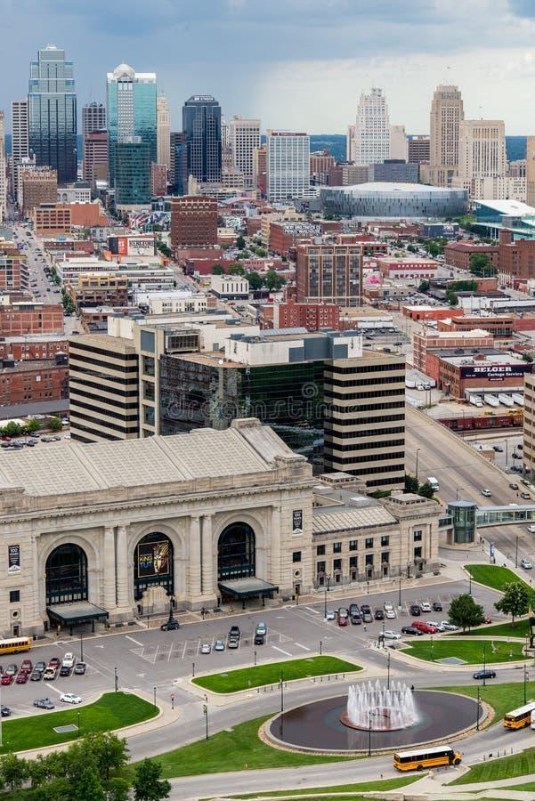 Flyg- sikt av Kansas City missouri royaltyfria bilder