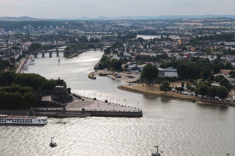 Flyg- sikt av Koblenz arkivbild