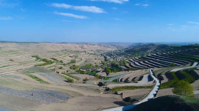 Flyg- sikt av kullar för lantgårdfält, terrasserad dal med massiv agricutlure arkivbilder