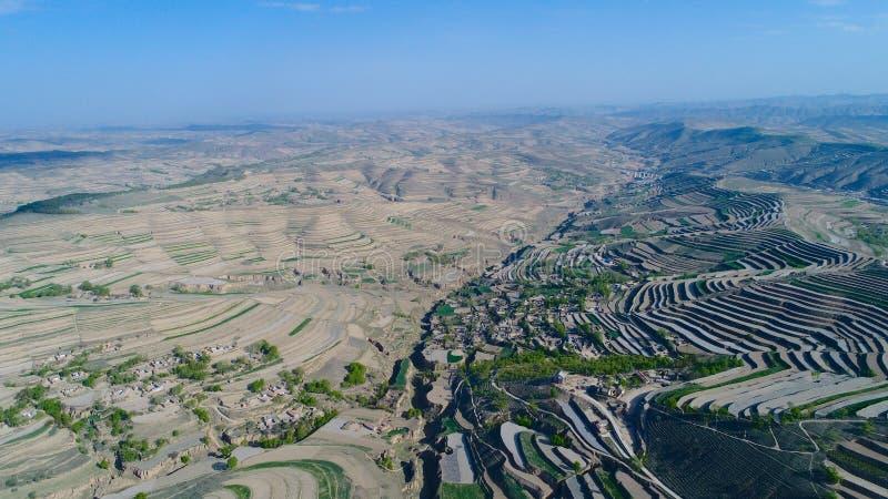 Flyg- sikt av kullar för lantgårdfält, terrasserad dal med massiv agricutlure royaltyfria foton