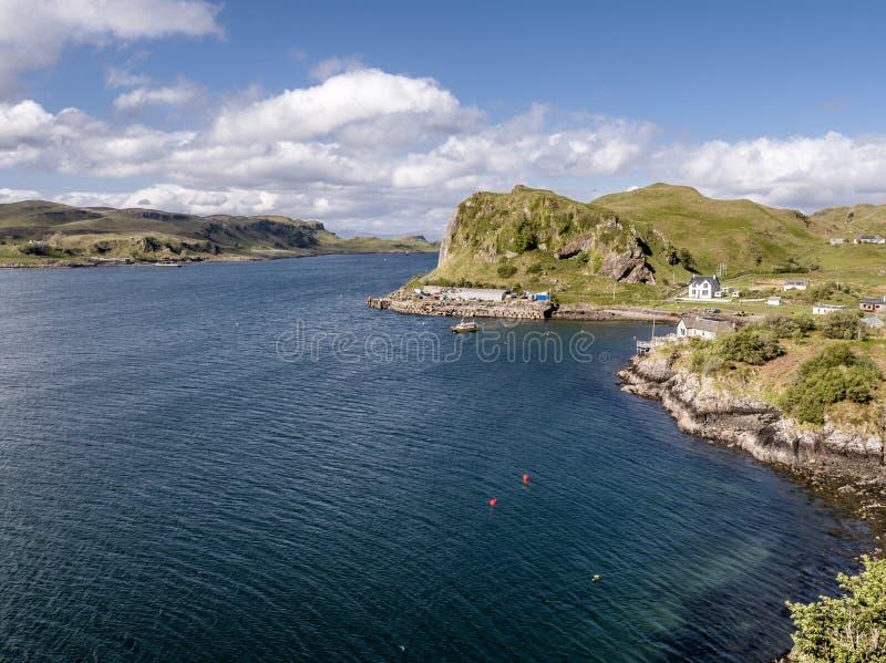 Flyg- sikt av kusten mellan Gallanach och Oban, Argyll fotografering för bildbyråer