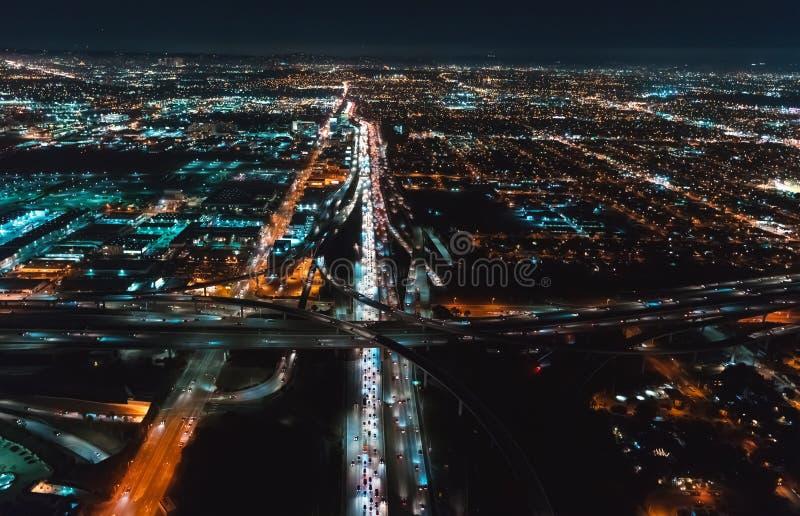 Flyg- sikt av LA, CA nära SLAPPT royaltyfria foton