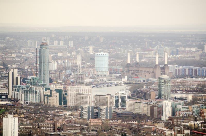 Flyg- Sikt Av Lambeth Och Battersea Arkivfoto