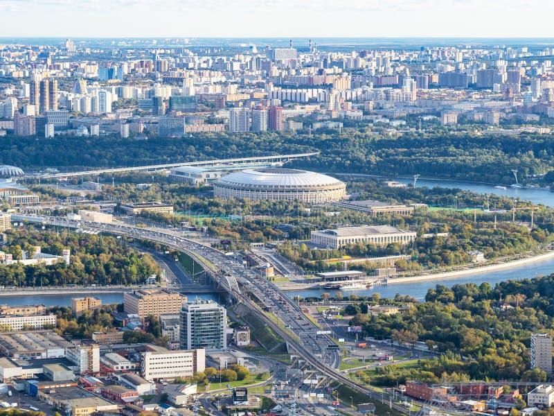 Flyg- sikt av Luzhniki arenastadion i Moskva royaltyfri bild