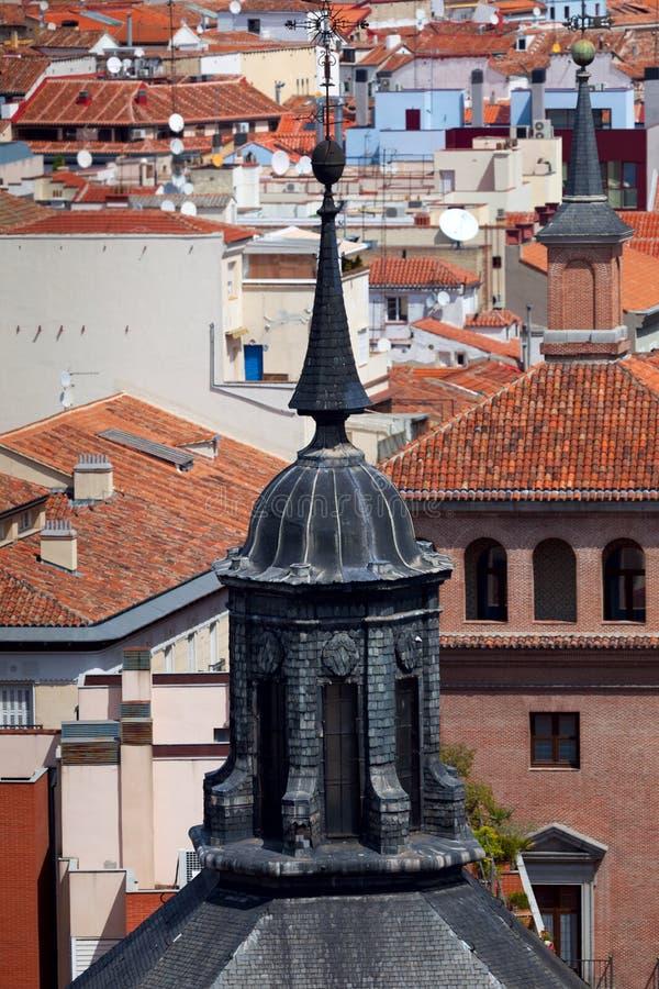 Flyg- sikt av Madrid (Spanien)/kupol och tak av staden arkivfoto