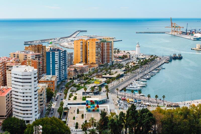 Flyg- sikt av Malaga i en härlig vårdag, Spanien arkivfoton
