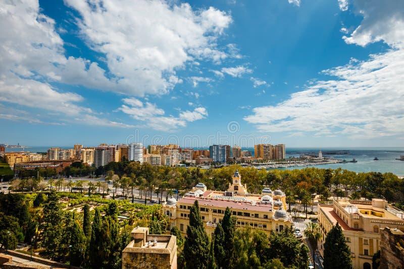 Flyg- sikt av Malaga i en härlig vårdag, Spanien fotografering för bildbyråer
