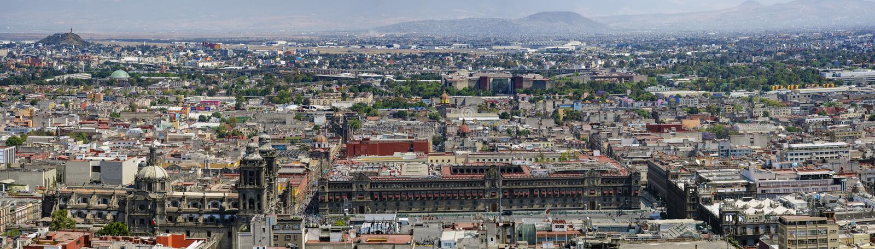 Flyg- sikt av Mexico cityscape royaltyfri foto