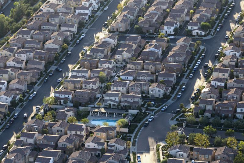 Flyg- sikt av moderna hem i Los Angeles royaltyfria foton