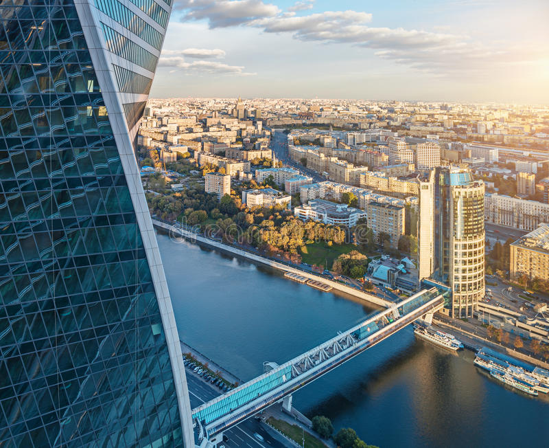 Flyg- sikt av Moskvastaden royaltyfria foton