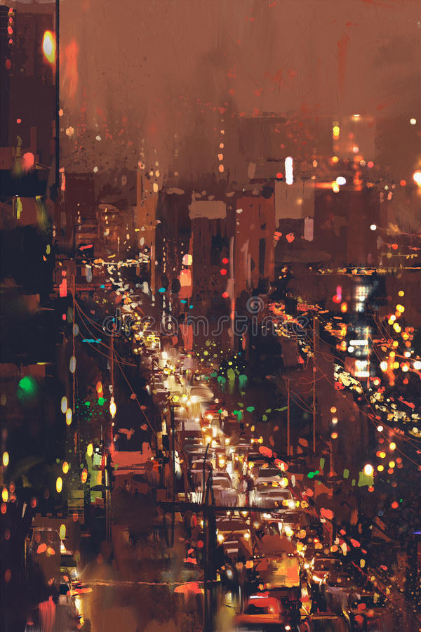 Flyg- sikt av nattcityscape med färgrikt ljus royaltyfri fotografi