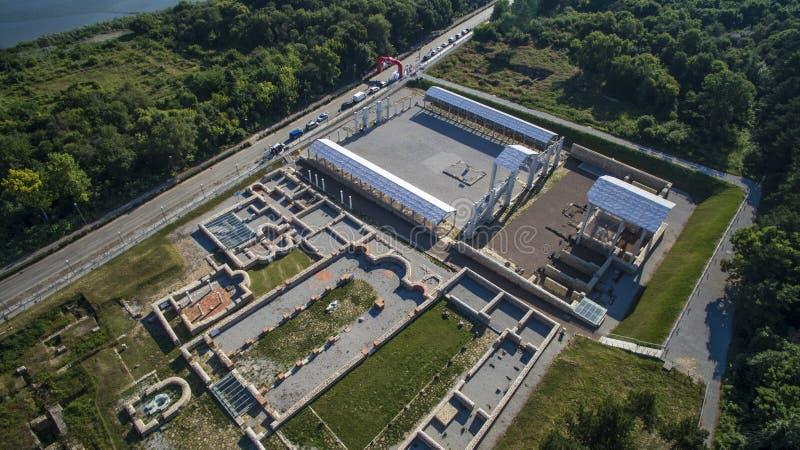 Flyg- sikt av Nove, Svishtov, Bulgarien, Juli 2017 royaltyfria bilder