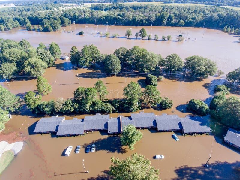 Flyg- sikt av orkanen Matthew Flooding arkivfoto