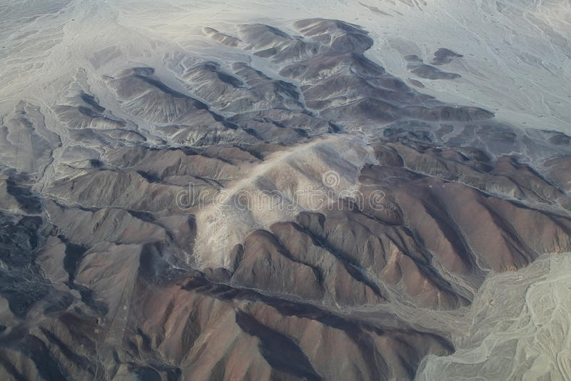 Flyg- sikt av Pampas de Jumana nära Nazca, Peru royaltyfria foton