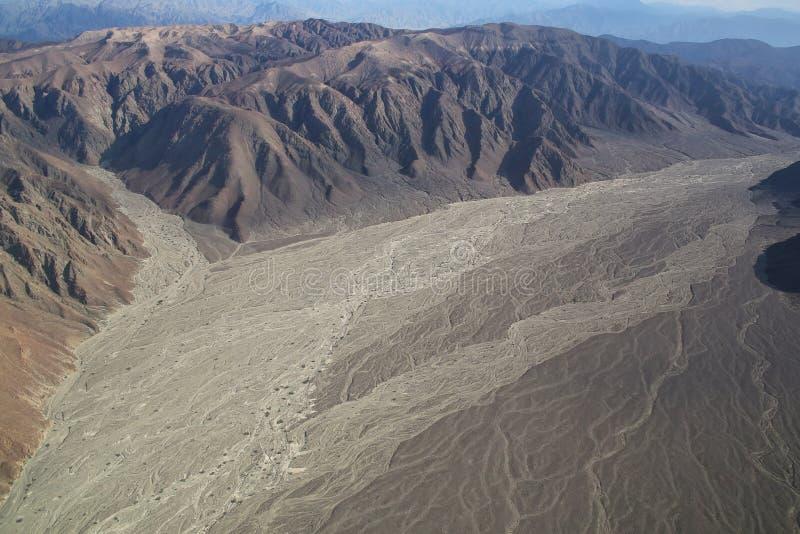Flyg- sikt av Pampas de Jumana nära Nazca, Peru royaltyfria bilder