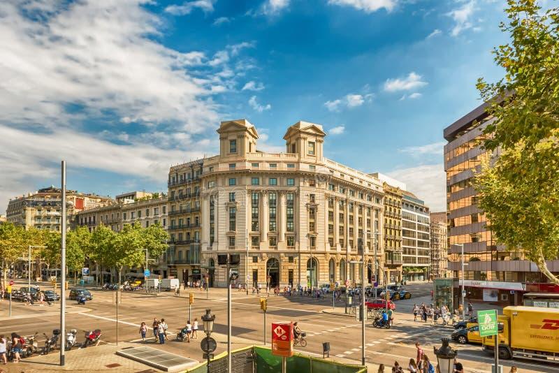 Flyg- sikt av Passeig de Gracia, Barcelona, Catalonia, Spanien arkivfoton