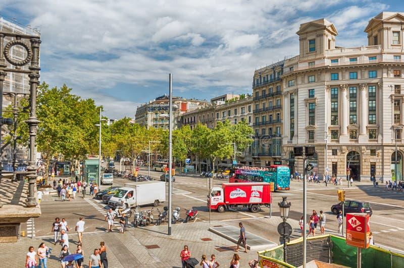 Flyg- sikt av Passeig de Gracia, Barcelona, Catalonia, Spanien royaltyfria bilder