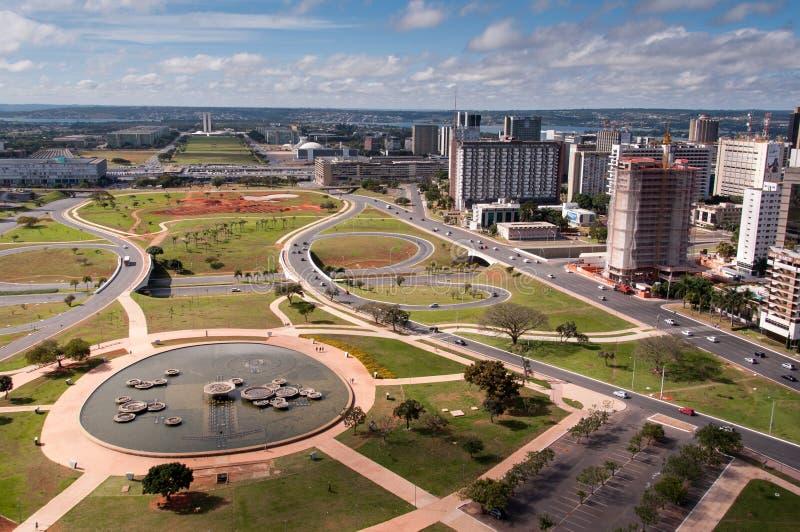 Flyg- sikt av piloten Plan av den Brasilia staden royaltyfri fotografi