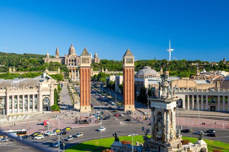 Flyg- sikt av Plaza de Espanya Kvadrera, Barcelona, Catalonia, Sp arkivbild