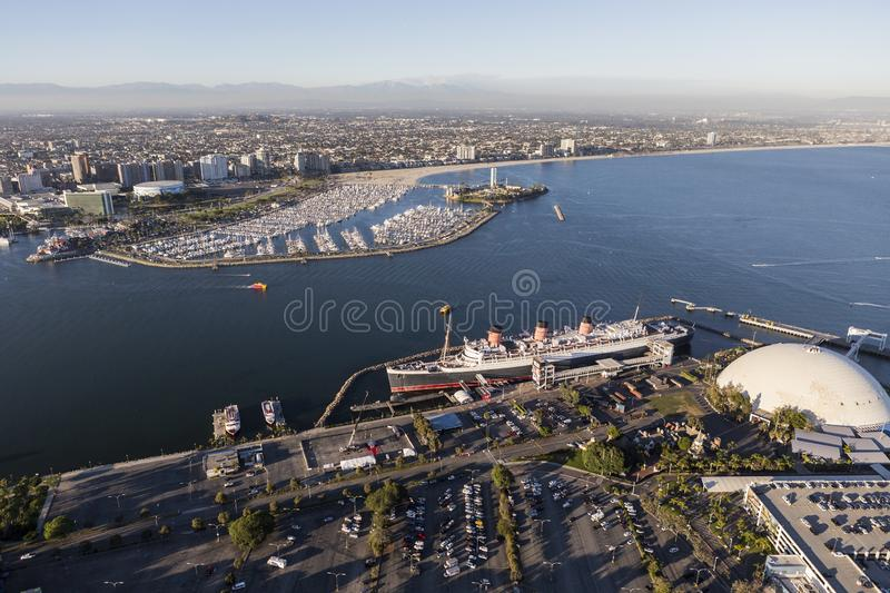 Flyg- sikt av Queen Mary i Long Beach Kalifornien royaltyfri bild