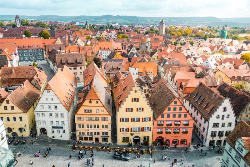 Flyg- sikt av Rothenburg obder Tauber, Bayern, Tyskland arkivfoton