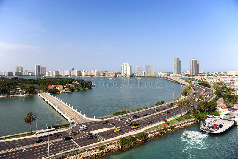 Flyg- sikt av södra Miami Beach royaltyfri foto