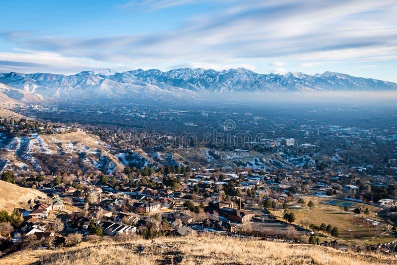 Flyg- sikt av Salt Lake City Utah royaltyfria bilder