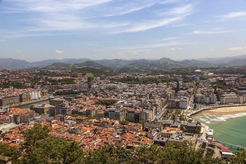 Flyg- sikt av San Sebastian, Spanien royaltyfri foto